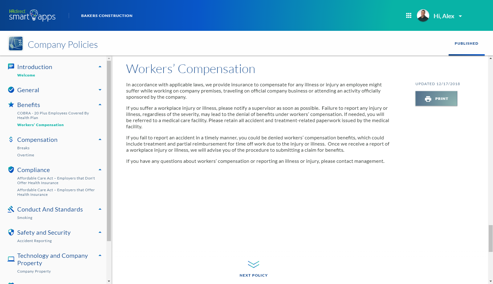 Company Policies Screenshot