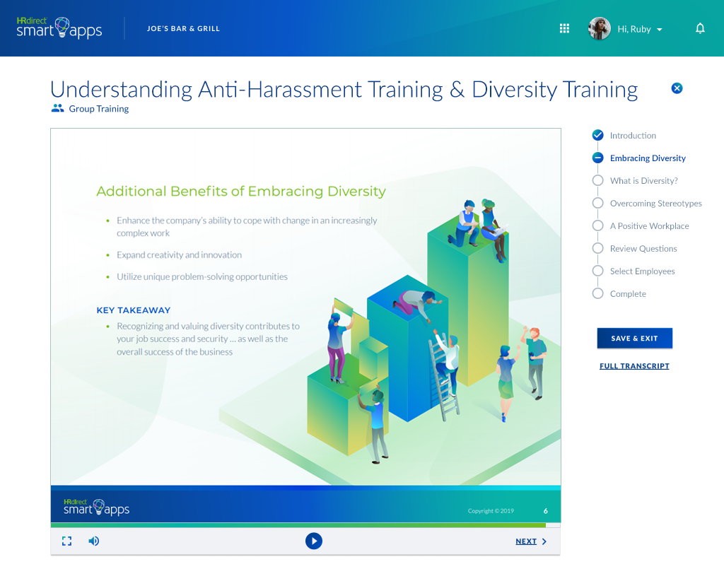 Harassment Training Screenshot